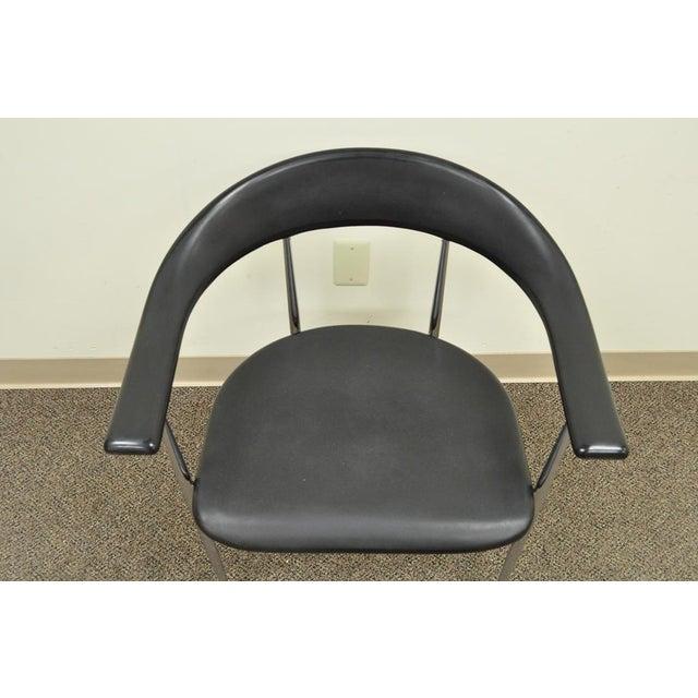 Vintage Mid Century Modern Fasem Chrome & Molded Vinyl Italian Desk Arm Chair For Sale In Philadelphia - Image 6 of 11