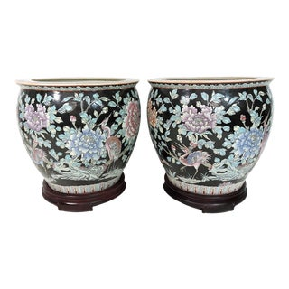 Antique Chinese Famille Noire Wading Birds and Chrysanthemum Planters / Jardinieres With Rosewood Stands - a Pair For Sale