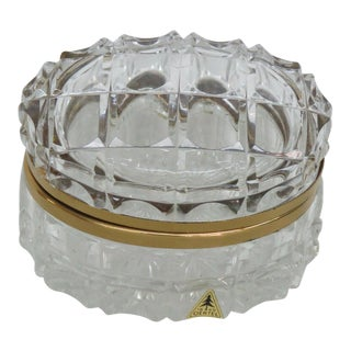 Oertel Crystal Clear Glass Gold Trim Hinged Casket Jewelry Trinket Box For Sale