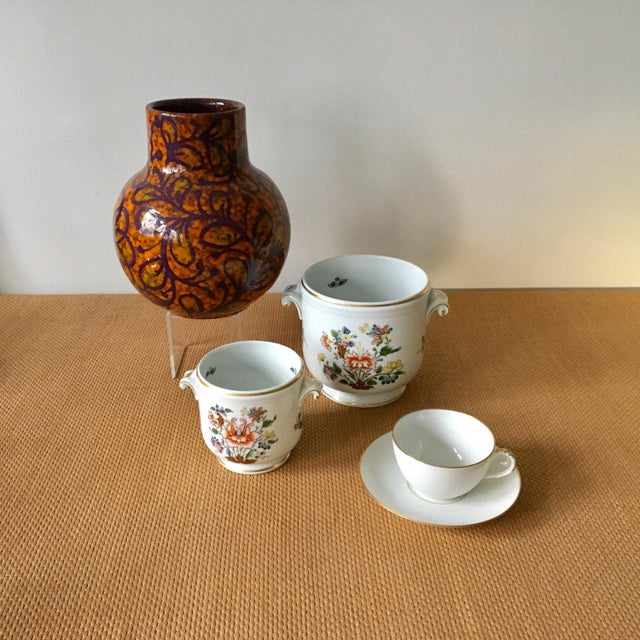 1980s Hollywood Regency Richard Ginori Ischia Pattern Floral Cachepot For Sale - Image 10 of 11
