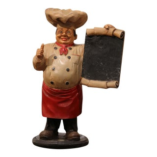 Early 20th Century French Painted Paper Mâché Restaurant Chef Sculpture For Sale