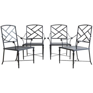 Set of Four Powder Coated Aluminum Garden Chairs For Sale