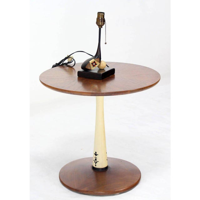 Mid-Century Modern Solid Walnut Weighted Base Round Side Table - Image 10 of 10