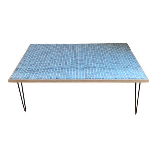 Mid Century Modern Vintage Mosaic Tile Iron and Wood Coffee Table For Sale