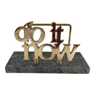 "Mid-Century ""Do It Now"" Brass & Marble Letter Holder For Sale"