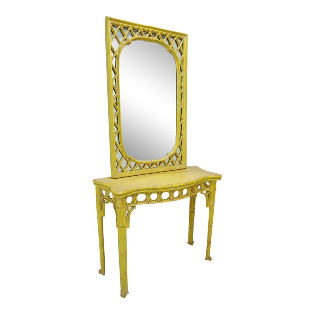 Chinoiserie Yellow Console Table & Mirror - Image 1 of 8