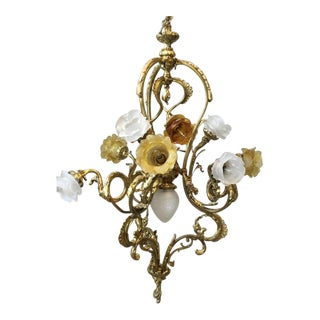 "Belle Epoque 13-Light ""Fleur D'Or"" Gilt Bronze Chandelier in the Manner of Pierre Gouthiere"