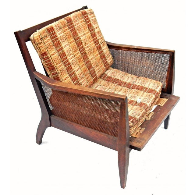 Vintage Mid Century Modern Wood Wicker Armchair For Sale - Image 4 of 4