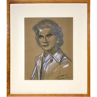 Vintage Mid Century Female Charcoal Portrait Drawing For Sale