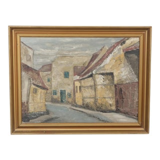 Mid-Century Impressionist Earth-Toned Cityscape For Sale