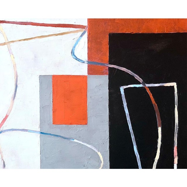 "Abstract Jeremy Annear ""Breaking Contour (Red Square) I"", Painting For Sale - Image 3 of 4"