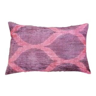 Silk Uzbek Ikat Velvet Hand Made Pillow Cushion,16x22 For Sale