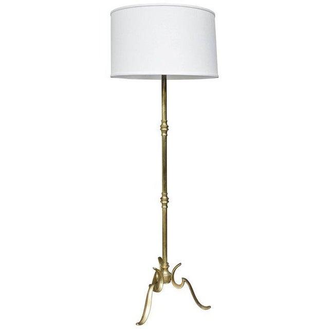 Brass Brass Cast Tripod Base Floor Lamp For Sale - Image 7 of 8