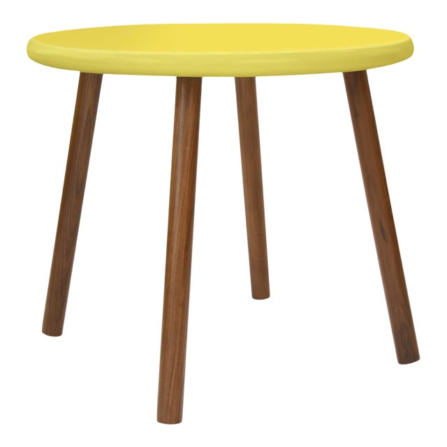 """Peewee Large Round 30"""" Kids Table in Walnut With Yellow Finish Accent For Sale"""