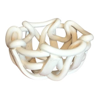 1970s Abstract Antique White Ceramic Bowl