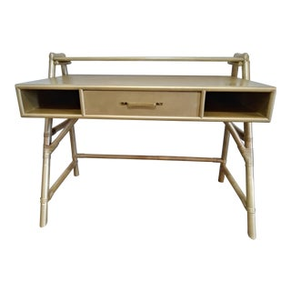 1960s Hollywood Regency Gilt Bamboo & Rattan Writing Desk For Sale