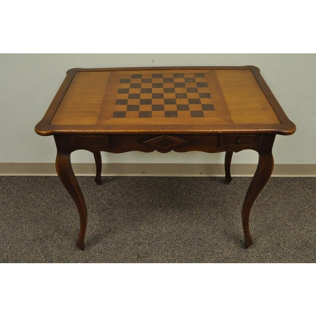 Item Vintage Custom Made French Country Style Antiqued Distress Finished Game Table With Checker