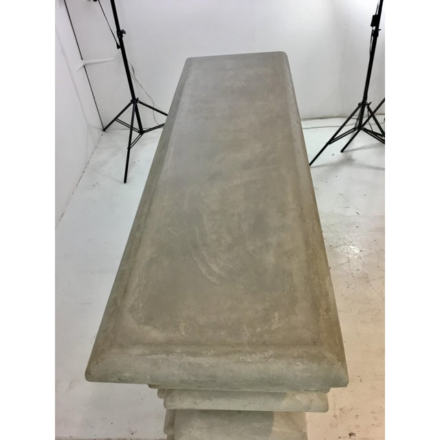 Modern Made Goods Industrial Modern Dorsey Gray Layered Concrete Console Table For Sale - Image 3 of 5