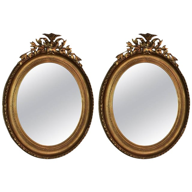 19th Century Oval Gilt Wood Mirrors - a Pair For Sale