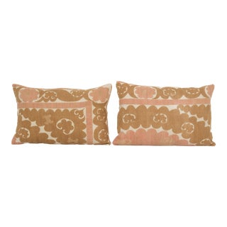 Uzbek Pink Suzani Textile Pillow Cover - Set of Two For Sale