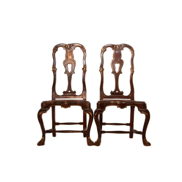 Painted Portuguese Baroque Side Chairs - a Pair For Sale - Image 4 of 4