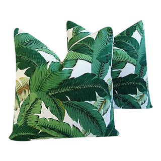 Banana Leaf Feather/Down Pillows - A Pair For Sale