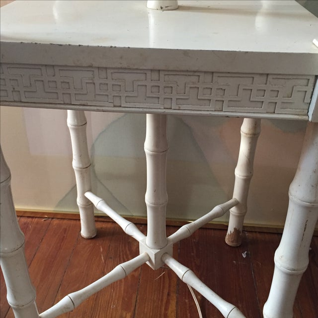 Greek Key Floor Lamp With Table Top For Sale - Image 4 of 5