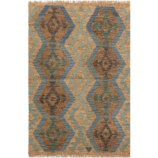 Evanth Gray/Blue Hand-Woven Kilim Wool Rug -2'7 X 3'11