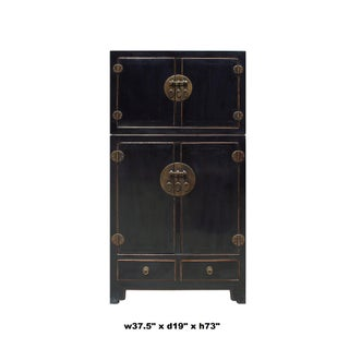 Chinese Distressed Black Lacquer MoonFace Compound Cabinet Preview
