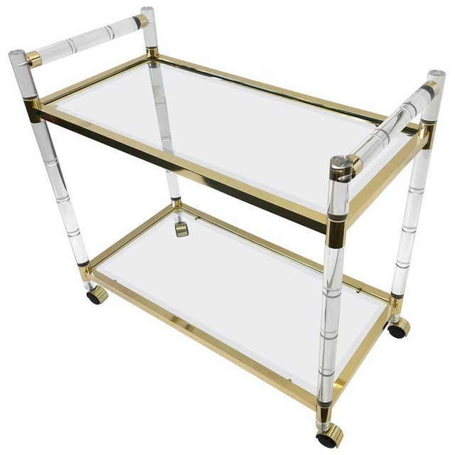 Italian Brass and Lucite Bar Cart For Sale - Image 9 of 9
