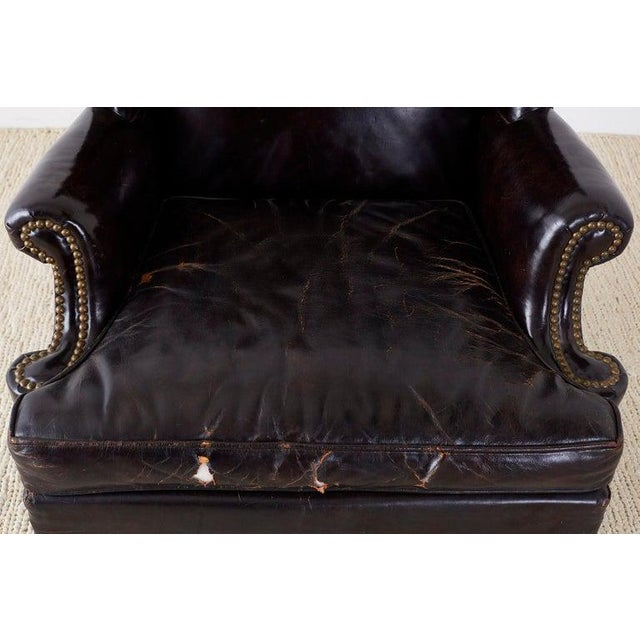 Early 20th Century English Georgian Style Black Leather Wingback Armchair For Sale - Image 5 of 13