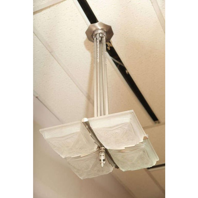 French Art Deco Square-Shaped Chandelier For Sale - Image 10 of 10