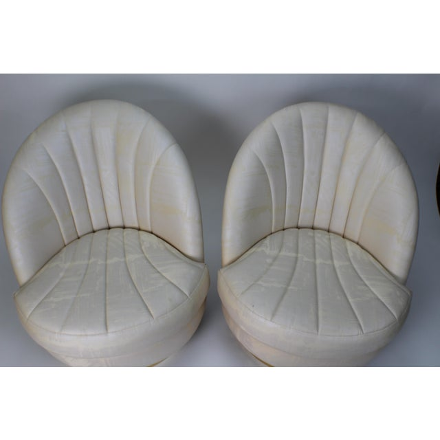 1980s Modern Milo Baughman for Thayer Coggin Gold Swivel Chairs - a Pair For Sale - Image 9 of 13