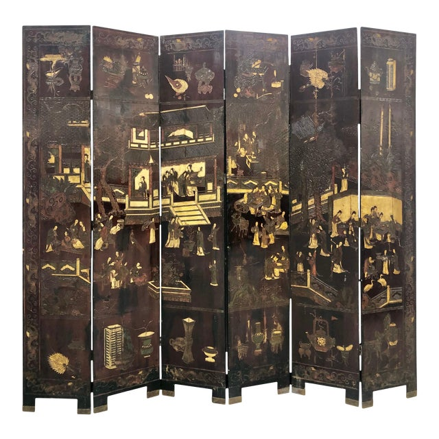 Early 19th Century Chinese Black Wooden Screen/Room Divider For Sale