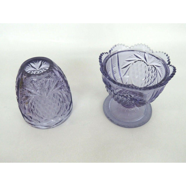 Mid 20th Century Fenton Wisteria New Heart Purple Glass Two Piece Fairy Lamp Candle Holder For Sale - Image 5 of 11
