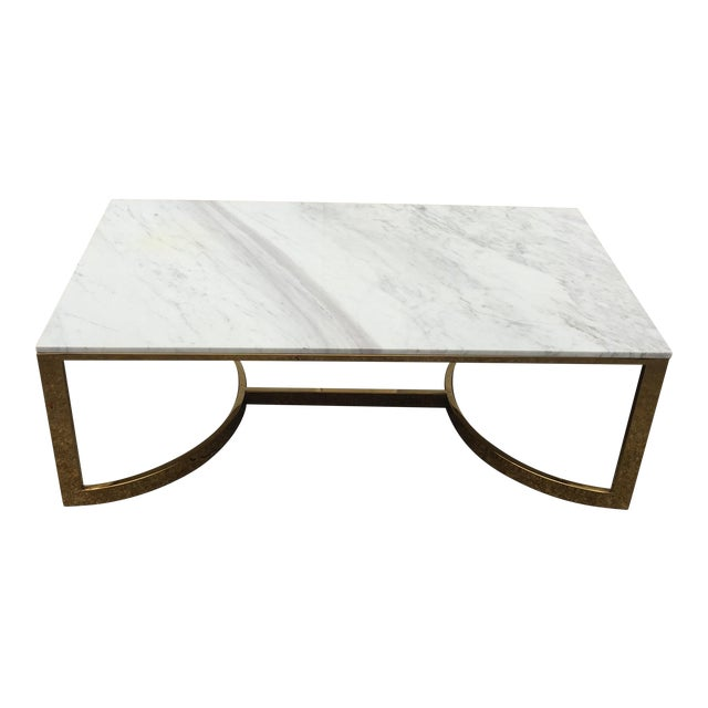 Bernhardt Marble & Brass Large Coffee Table For Sale