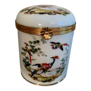 1970s Vintage Limoges Hand Painted Trinket Box For Sale