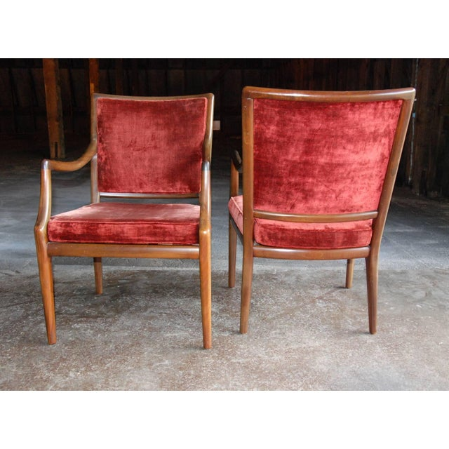 Wood Circa 1960 Style of T.H. Robsjohn-Gibbings Mid-Century Modern Upholstered Armchairs - A Pair For Sale - Image 7 of 8