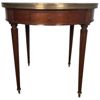 1950s Louis XVI Walnut Marble-Top Side Table For Sale