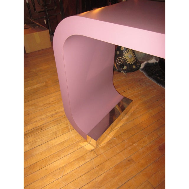 Vintage Postmodern Lavender Mauve Pink-Purple Waterfall Console Table For Sale In Chicago - Image 6 of 11