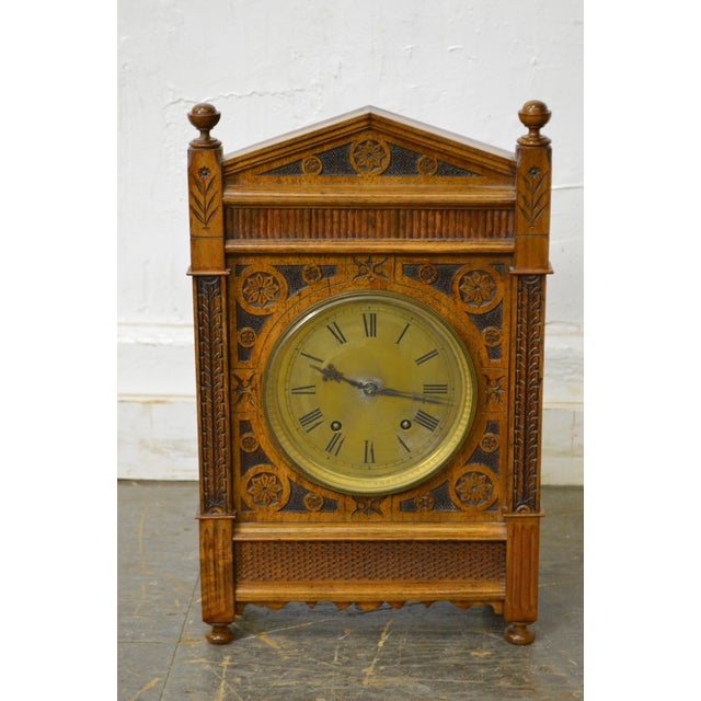 Antique Aesthetic Walnut Mantel Clock attributed to Daniel Pabst For Sale - Image 10 of 13