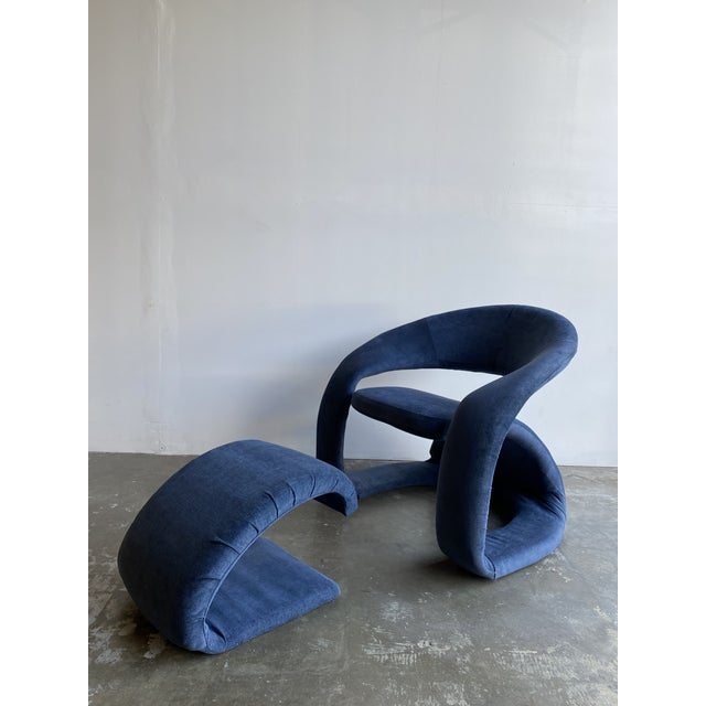 Memphis Sculptural Cantilever Chairs in fully Restored blue performance velvet. The color creates a muted cool tone to...