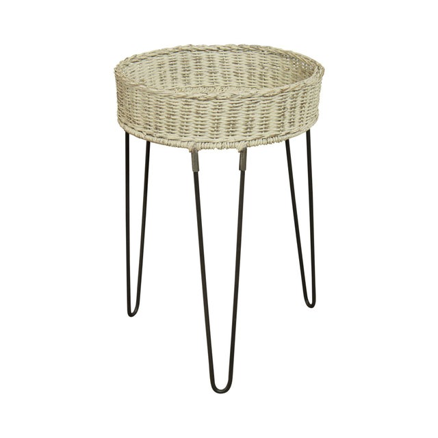 Round Wicker Planter Table With Hairpin Legs For Sale - Image 12 of 12