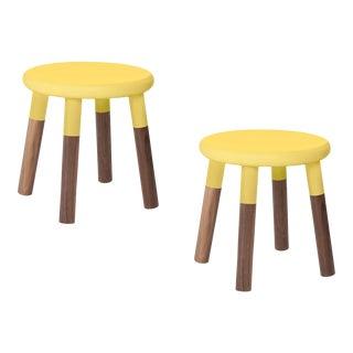 Nico & Yeye Peewee Kids Chair Solid Walnut and Walnut Veneers Yellow - Set of 2 For Sale