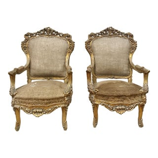 Deconstructed Louis XV Arm Chairs - a Pair For Sale