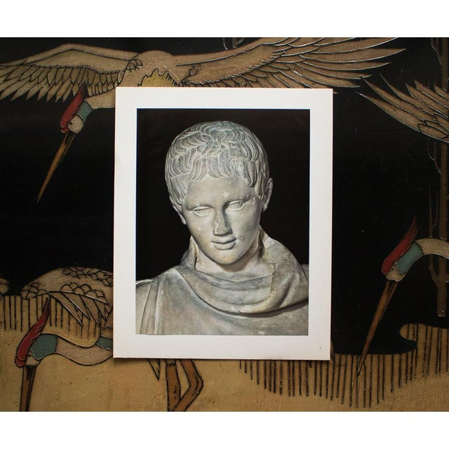 """Mediterranean Rare """"Head of Marble Statue of a Young Athlete Resting"""", Original 1940s Swiss Photogravure For Sale - Image 3 of 8"""