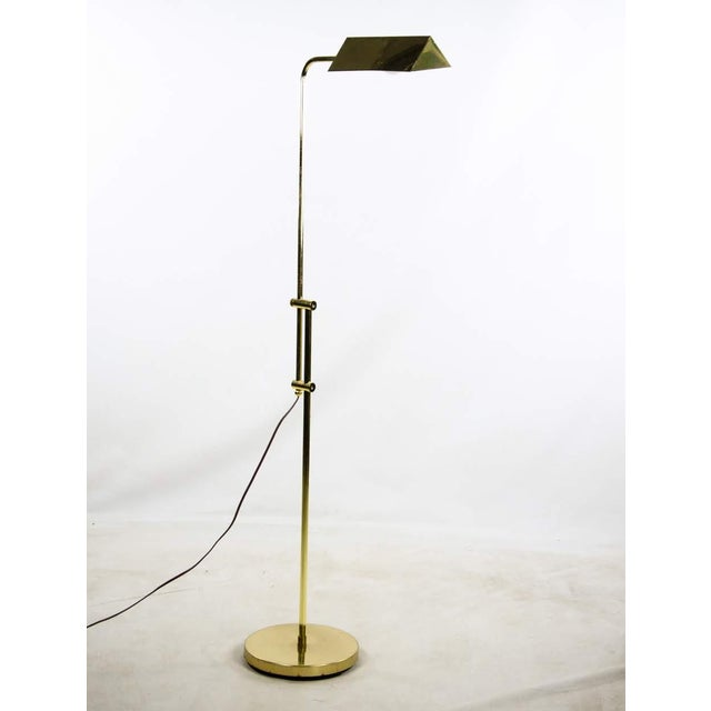 Mid Century Modern Style Brass Adjustable Reading Floor Lamp For Sale - Image 4 of 13