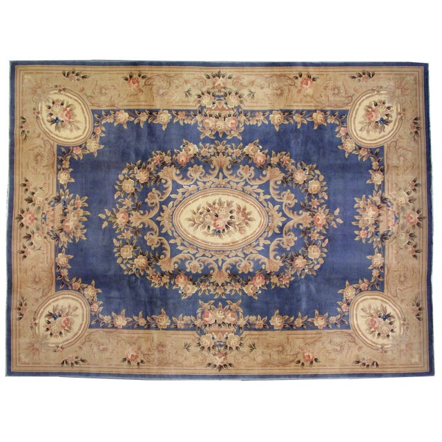 1930s Antique Chinese Art Deco Hand Made Rug- 9′ × 11′7″ - Image 6 of 8