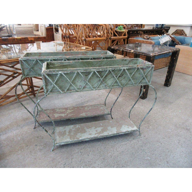 Rustic Green Painted Jardinieres - a Pair - Image 2 of 6