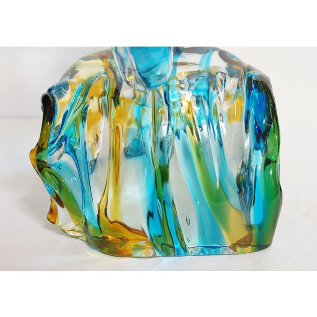 Blue Murano Fish on Wave Sculpture by Sergio Costantini For Sale - Image 8 of 11